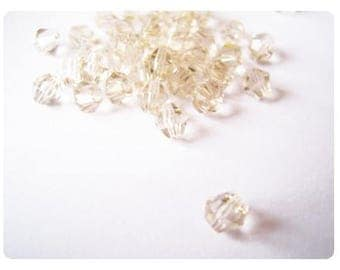 25 4mm - champagne faceted Crystal beads