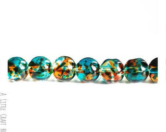 30 watercolor 8 mm - blue glass beads / orange