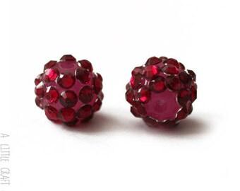 """3 pearls rhinestone """"shamballa"""" 12mm - Burgundy"""
