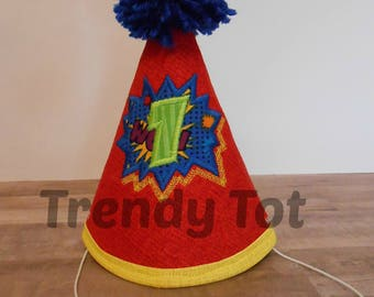 Trendy Tot Party Hat, First Birthday Hat, Superhero Party Hat, Cake Smash Party Hat, Cake Smash Birthday Outfit