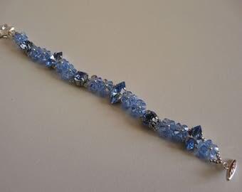 WAVE CABOCHON SWAROVSKI Crystal BRACELET SAPPHIRE and LIGHT SAPPHIRe No. 3