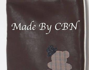 Lined with beige cotton Brown leatherette shoulder bag