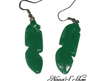 Earrings feather, green polymer clay,