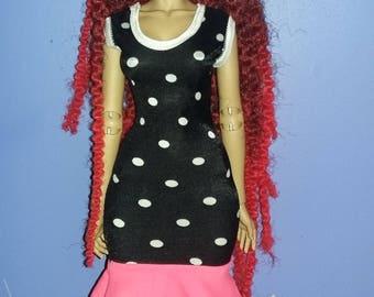 polka dot dress  for  raccoondoll,iplehouse fid,dollshe fashion size,msd size bjd
