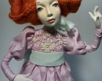 sold. Barbara unique author's doll, rag doll, OOAK art doll artist