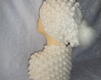 Hat and matching snood hand knit white
