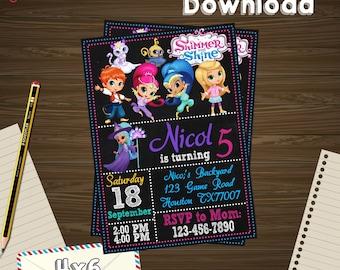 Shimmer Invitation, shimmer Birthday, shimmer Party, shimmer Printable, shimmer Editable, shimmer PDF, shimmer party birthday, shimmer edit