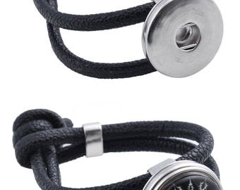 Leather Bracelet, wide inner ± 19cm (for Extra Large snaps)