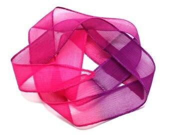 1pc - dyed silk ribbon necklace to 85 x 2.5 cm pink neon Fuchsia Magenta purple (ref SOIE151) 4558550002860