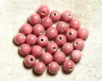 10pc - porcelain ceramic pink peach coral beads 10mm 4558550006684 balls