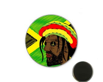 Rastaman magnet - Reggae Badge - Magnet 25 mm