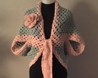jacket for women with a pink handmade crochet
