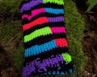 Neon Stripes Knit Arm Warmer Fingerless Gloves