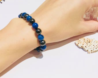 Shungite bracelet with lapis lazuli  S-M, emf protecting and chakra healing, fullerene jewelry,magic stone, pagan bracelet,reiki crystals