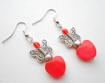 Red hearts and Butterfly Silver earrings.
