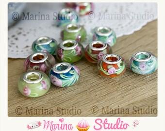 5 lampwork pandor beads ' a ms22681 flowers pattern