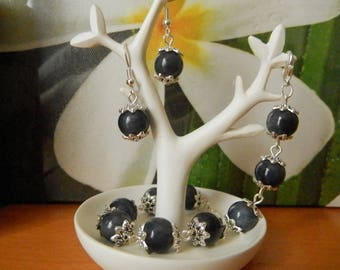 Midnight Blue night and Indian silver metal set blue beads