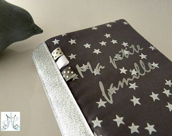 "Protects family book ""My family"" - MSDS rain grey with white stars"
