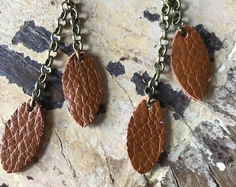 Leather Earrings-leather leaf in cogniac with bronze chain dangle earrings