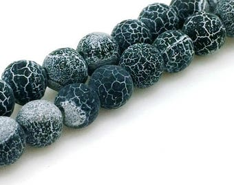 Synthetic agate beads dragon vein matte black 4mm