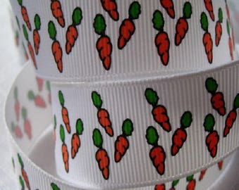 Ribbon grosgrain printed * 22 mm * carrot garden vegetables - sold by the yard