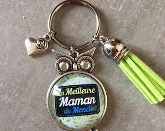 ff9a37215ee Maman - Porte clés chouette cabochon verre de 25mm