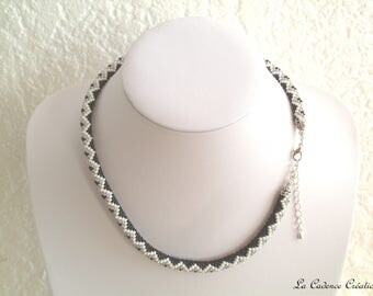 Crocheted necklace in black, white and grey seed beads