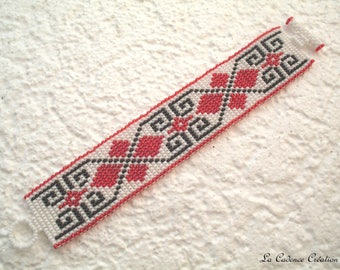 ethnic Cuff Bracelet hand woven black and white, red seed beads