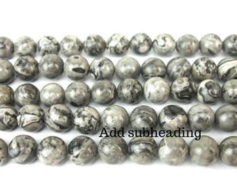 natural gray Jasper and 8 MM 10 beads