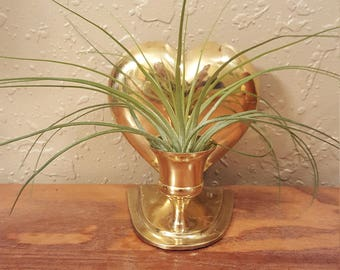 Vintage brass heart shaped wall sconce candleholder.  Shiny gold heart, airplant holder.