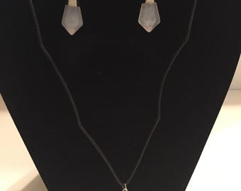 Healing Crystal Pendant Earrings with Necklace