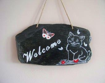 "Decorative slate - garden decor - ""Welcome""-""welcome"""