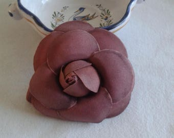 Camellia flower brooch pink printings to wear over a jacket or dress size 8.5