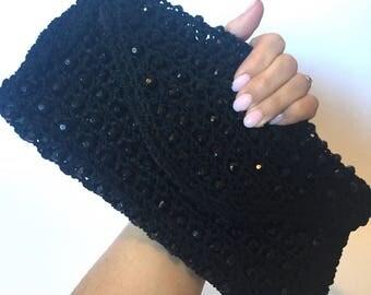 Vintage,clutch,evening bag,purse,crochet,beaded,vintage purse,black,boho chic,Bobbi Jerome