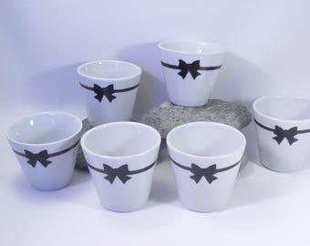 Tasses à café expresso filet et noeud ,noir et blanc*