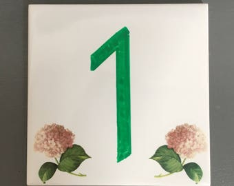 Plate street number and/or name of home decor pink hydrangeas