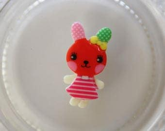 Red and pink rabbit resin scrapbooking