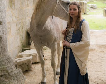 Medieval dress / historical dress, medieval costume in cotton with front and back lacing