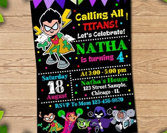 Teen Titans Go birthday, Teen Titans Go invitation, Teen Titans Go party, Teen Titans Go printable, Teen Titans Go invite, Teen Titans Go