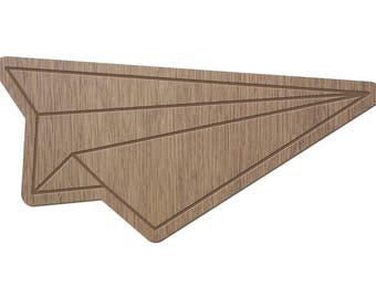 AIRPLANE - ORIGAMI - laser cut wood - brooch