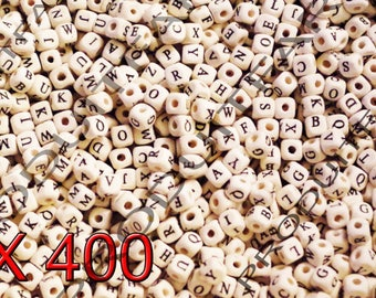 Lot of 400 beads letters Cube wooden Alphabet size 8 mm black and white necklace jewelry pendant