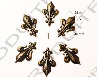 6 Fleur de lis Decoration embellishment Scrapbooking 46 X 28 mm brass metal