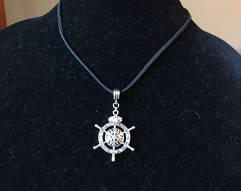 Black Leather and Silver Ships Wheel Necklace