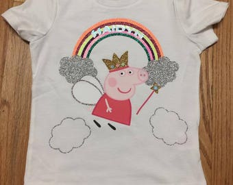 Peppa Pig Rainbow Shirt with Child's Name