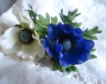 Set of 2 beautiful anemones in fabric