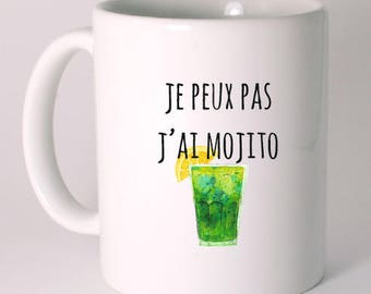 "CERAMIC MUG ""I can't I mojito"" personalized"