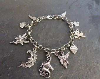 Magical, adjustable ♥ theme Silver Charm Bracelet ♥