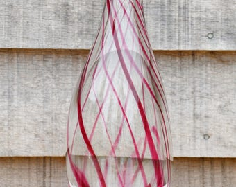 Candy cane glass vase