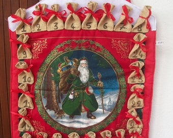 House Red padded fabric advent calendar