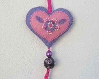 heart embroidered felt and beads